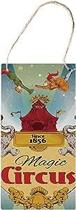 SIGNCHAT Señales de Madera para Colgar en el Circo, Cartel de exhibición de Carpa de Circo mágico, Estilo Vintage, decoración de acróbatas de Estilo arialista, 12,7 x 25,4 cm