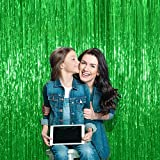 Treasures Gifted Green Metallic Foil Fringe Curtain for Graduation Party Selfie Wall Backdrop | 3 x 8 Feet, Pack of 3 | Birthday Door Cover Garland Streamer Decorations