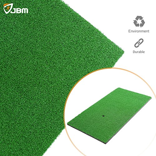 JBM Golf Hitting Mat (24in x 12in) Golf Practice Mat With Golf Tee Hole Golf Grass Mat Indoor Backyard Portable Golf Hitting Mat Residential Mini Golf Pad for Golf Swing Practice Training Putter Balls