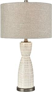 Elk Lighting D3629 Countess of Cork Table Lamp, White Glaze, Pewter