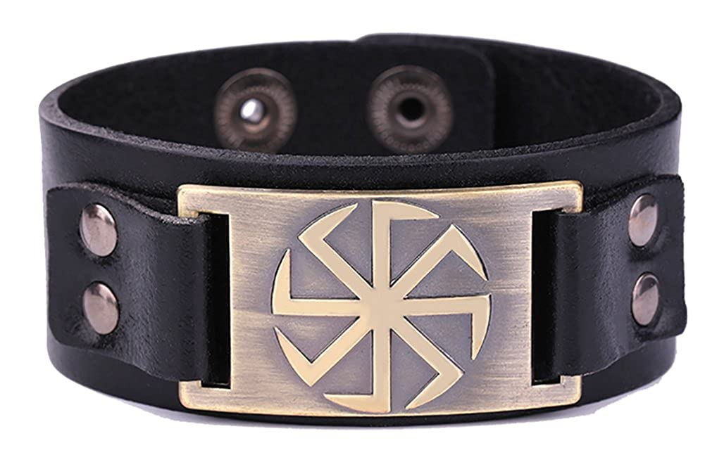 My Shape Mens Kolovrat Symbol Slavic Pagan Leather Bracelet Talisman Wiccan Bangle