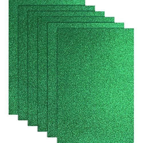Blulu Glitter Heat Transfer Vinyl HTV for T-Shirts 10 x 12 Inches 6 Sheets (Green)