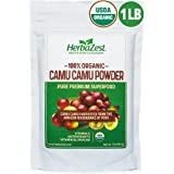 Camu Camu Powder Organic - 16 Ounce (1 Full LB) - Nutrient-Rich and Best Source of Vitamin C - Vegan & USDA Certified - Gluten Free - Perfect for Smoothies, Juices, Teas & Hot Beverages