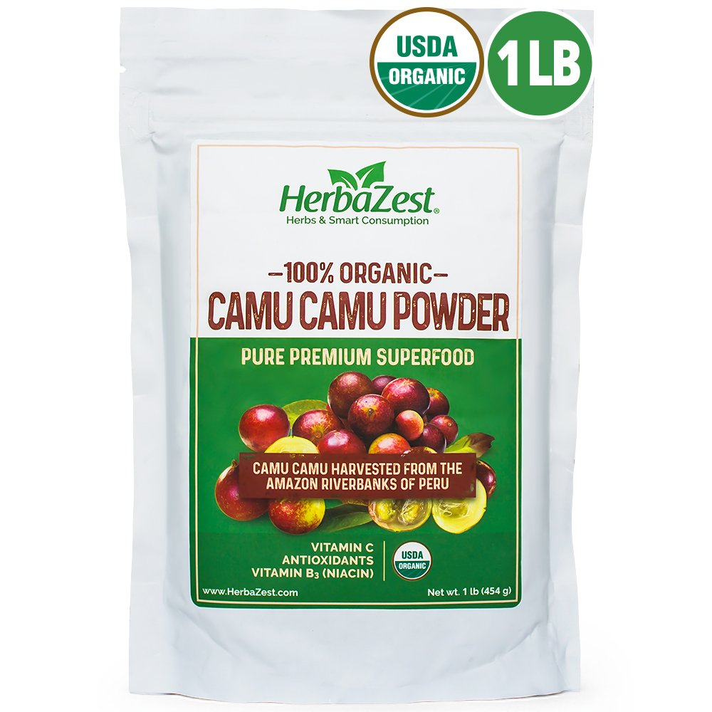 Camu Camu Powder Organic - 16 Ounce (1 Full LB) - Nutrient-Rich and Best Source of Vitamin C - Vegan & USDA Certified - Gluten Free - Perfect for Smoothies, Juices, Teas & Hot Beverages by HerbaZest