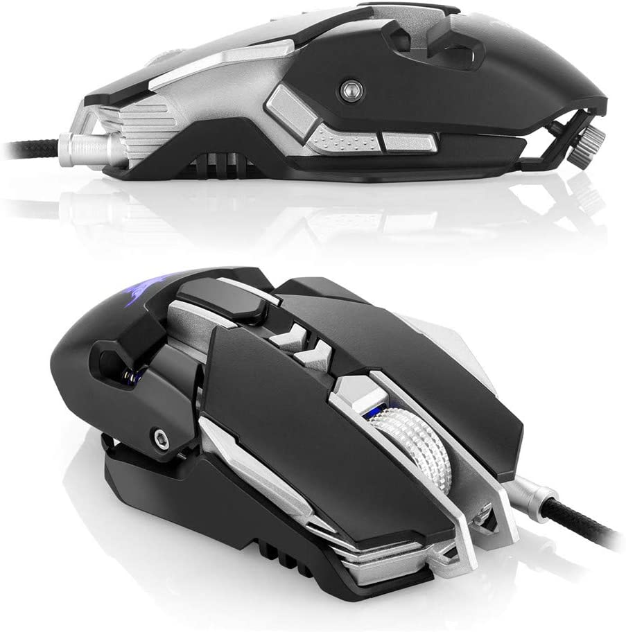 LED USB Wired Optical Game Gaming Mouse PC 7 Button DC Djustable 3200 DPI Comfortable Grip USB PC Gaming Mice,for Laptop Computer,White Feeling-one Gaming Mouse