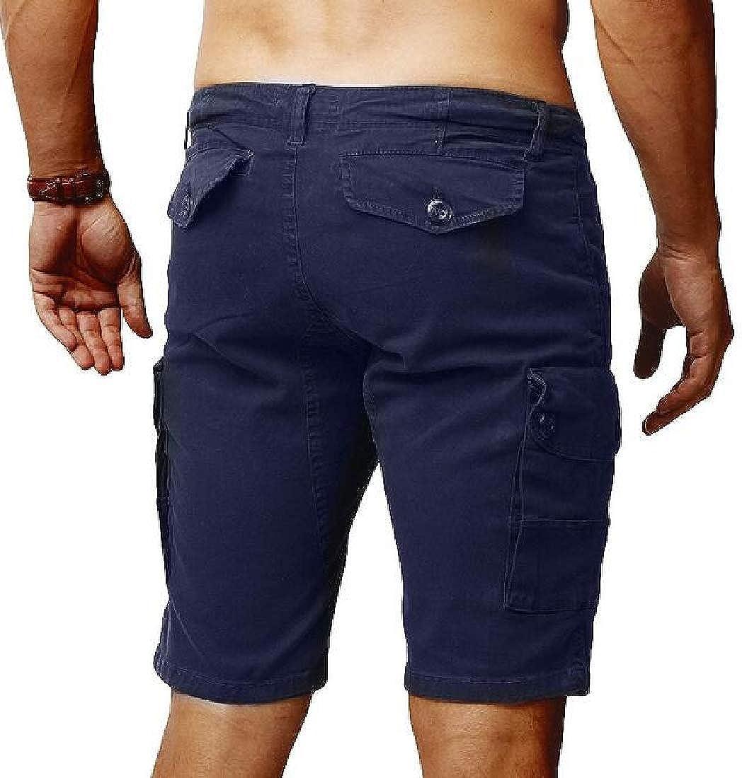 YYG Mens Ripstop Plain Multi Pockets Straight Leg Casual Loose