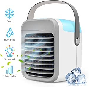 2020 Latest Personal Air Cooler, 4 in 1 Air Space Conditioner,Portable Air Conditioner with Handle, 3 Speed, 7 LED Lights, Mini Cooling Desktop Fan for Home, Office and Room (White)