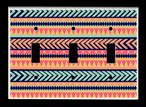 - Triple Toggle (3-toggle) Light Switch Plate Cover - Native American Indian - Tribal Pattern Design #9
