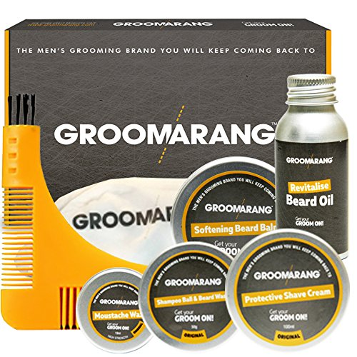 Groomarang Premium Collection Gift Set Beard Oil 30ml Catcher Comb Shave Cream Moustache Wax Beard Balm