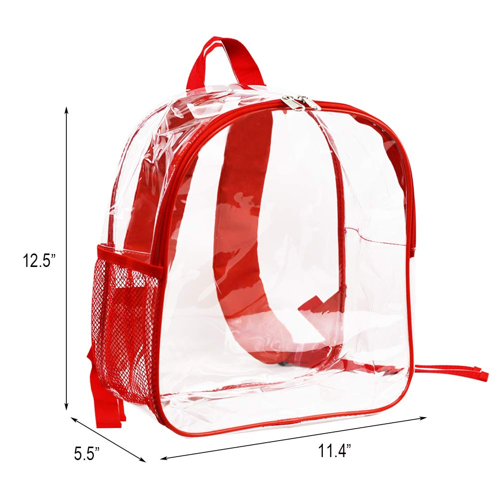 Stadium Approved Clear Backpack Heavy Duty/Cold-Resistant Transparent Backpack for Concert, Security Travel &Stadium(Red) by Magicbags (Image #4)