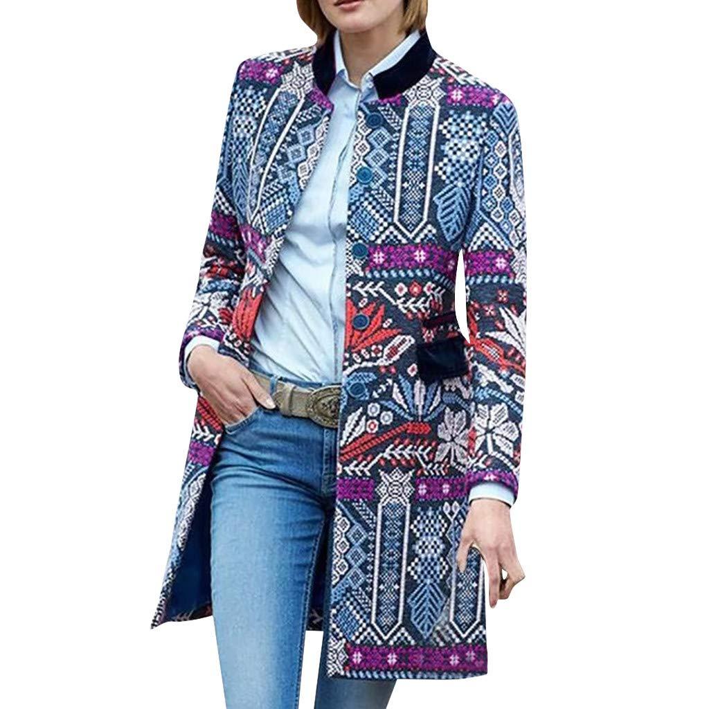 Yanvan Women Cardigan Coat,Vintage Print Stand Collar Buttons Pockets Long Sleeve Long Tops Suit Coat by Yanvan
