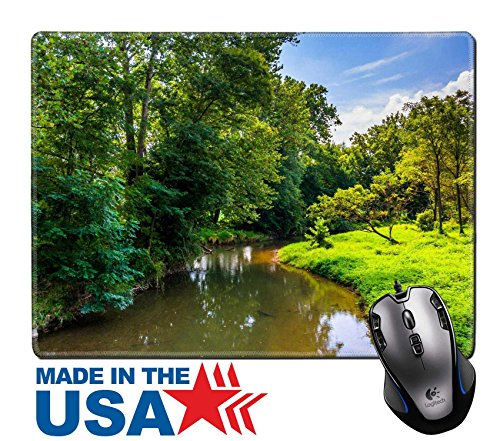Msd Natural Rubber Mouse Pad Mat With Stitched Edges 9 8  X 7 9  View Of Codorus Creek In York County Pennsylvania Image 25063192