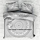 Indian Ombre Mandala Quilt Duvet Cover Cotton Queen Size Blanket Covet Set Throw Silver Duvet Cover Traditional Decor By Handicraft-Palace
