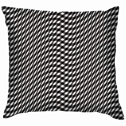 Wavy Gingham Black White Illustrations Clip Art Soft Cotton Linen Cushion Cover Pillowcases Throw Pillow Decor Pillow Case Home Decor 12X12 -