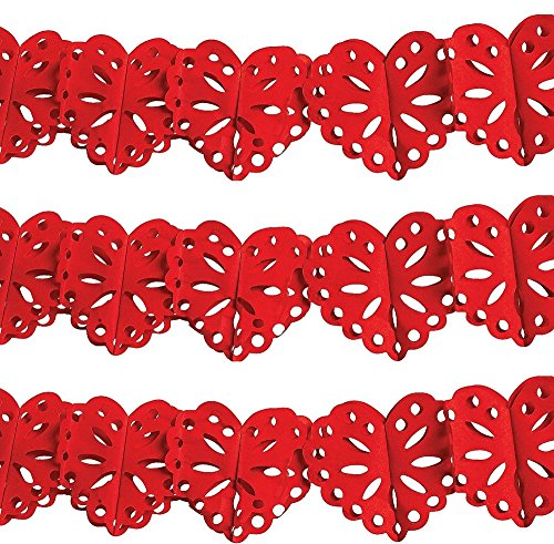 3 Pack - 9' Tissue HEART SHAPED GARLAND (27 feet total)/Valentine's Day PARTY DECOR/Decorations/RED HEARTS/Wedding/BRIDAY SHOWER/ENGAGEMENT