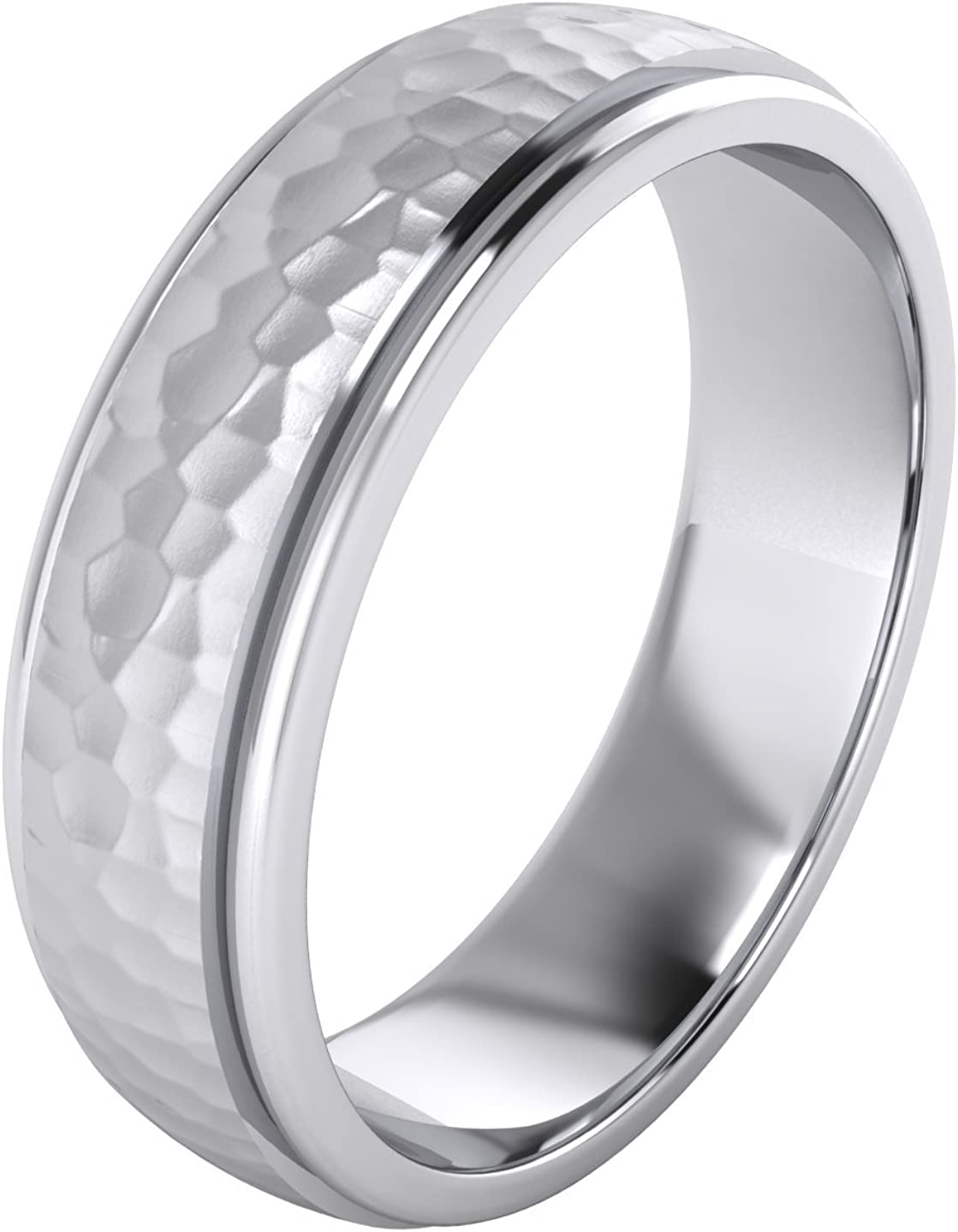 Heavy Solid Sterling Silver 6mm and 8mm Hammered Unisex Wedding Band Comfort Fit Ring Raised Center Polished Sides