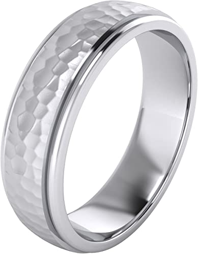 Mens Sterling Silver 6mm Flat Comfort Fit Wedding Band