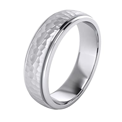 0d0cdd6cdba13 Heavy Solid Sterling Silver 6mm and 8mm Hammered Unisex Wedding Band  Comfort Fit Ring Raised Center Polished Sides
