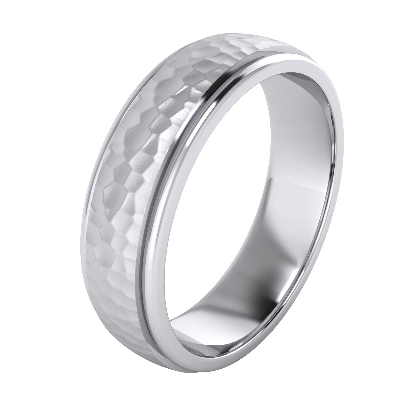 Heavy Solid Sterling Silver 6mm Hammered Unisex Wedding Band Comfort Fit Ring Raised Center Polished Sides (9.5)