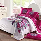 FADFAY Unique Peacock Bedding Sets,White Pink Bedding Sets,Queen Bed Set,4Pcs (QUEEN)