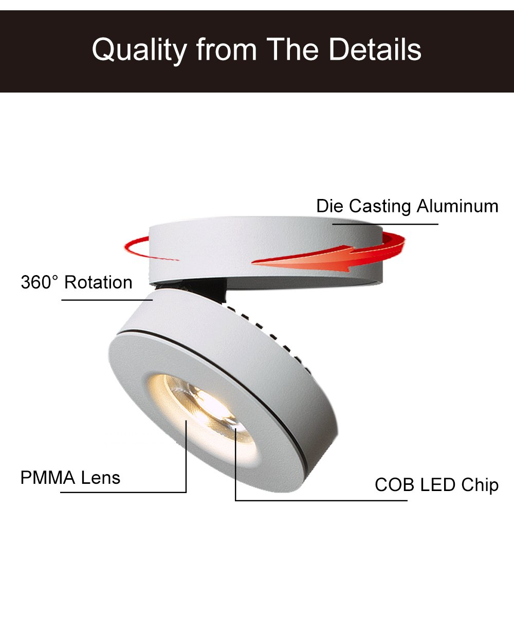 10w Led Spotlight 360adjustable Ceiling Downlight Surface Mounted Accessory Wiring Diagram For Motorcycle Cob Track Lighting Aluminum Wall Lamp Two In One Light Or Spot