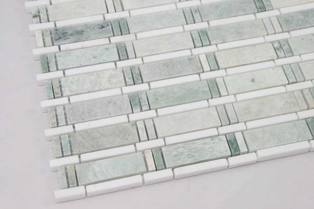 Ming Green, Thassos White; Marble Mosaic Tile; White and Green ...