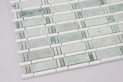 Ming Green Thassos White Marble Mosaic Tile White And Green - Thassos white marble bathroom