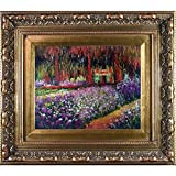 overstockArt Monet Artist's Garden at Giverny Painting with Baroque Wood Frame, Antiqued Gold Finish