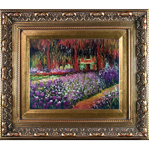 overstockart-monet-artists-garden-at-giverny-painting-with-baroque-wood-frame-antiqued-gold-finish