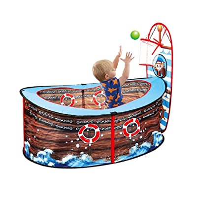 Sanmubo Play Game Tent for Kids,Kids Indoor Pop Up Ball Play Tent,Portable Fun Playhouse Ball Pit Pool Playpen with Basketball Hoop,Pirate Ship Children Play Tent for Kids: Home & Kitchen