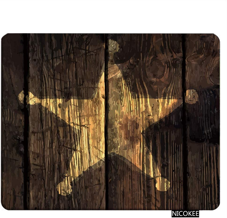 NICOKEE Wood Rectangle Gaming Mousepad Rustic Wooden Lone Star Sheriffs Badge Mouse Pad Mouse Mat for Computer Desk Laptop Office 9.5 X 7.9 Inch Non-Slip Rubber