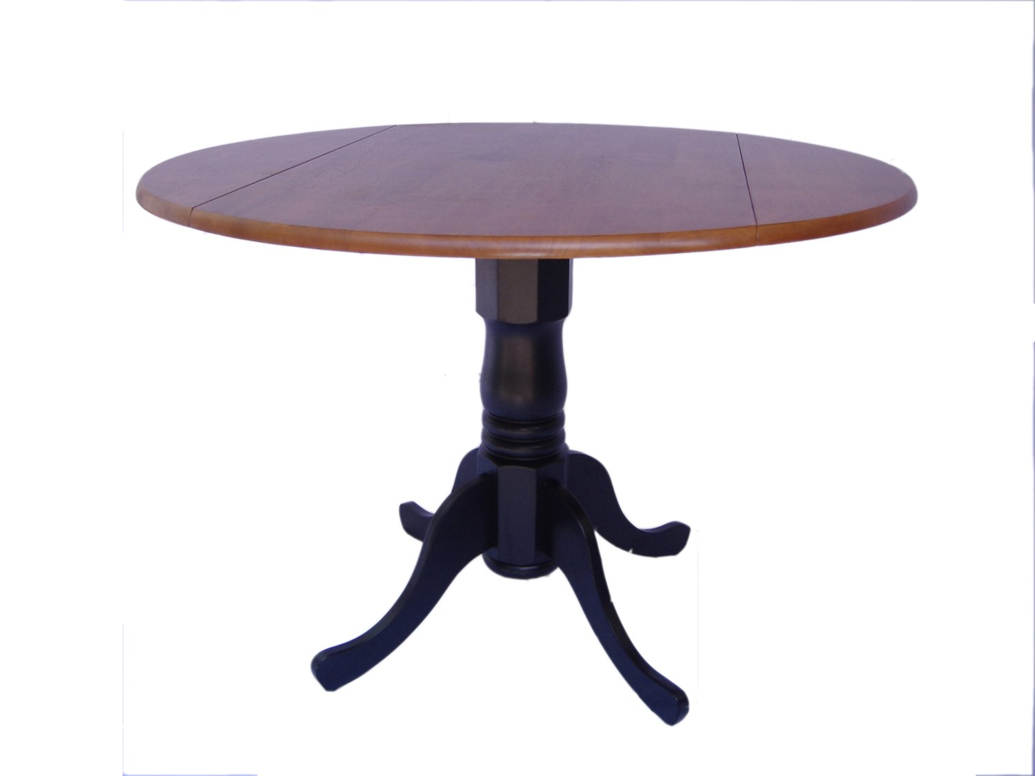 International Concepts T57-42DP Round Dual Drop Leaf Ped Table, Black/Cherry, 42-Inch