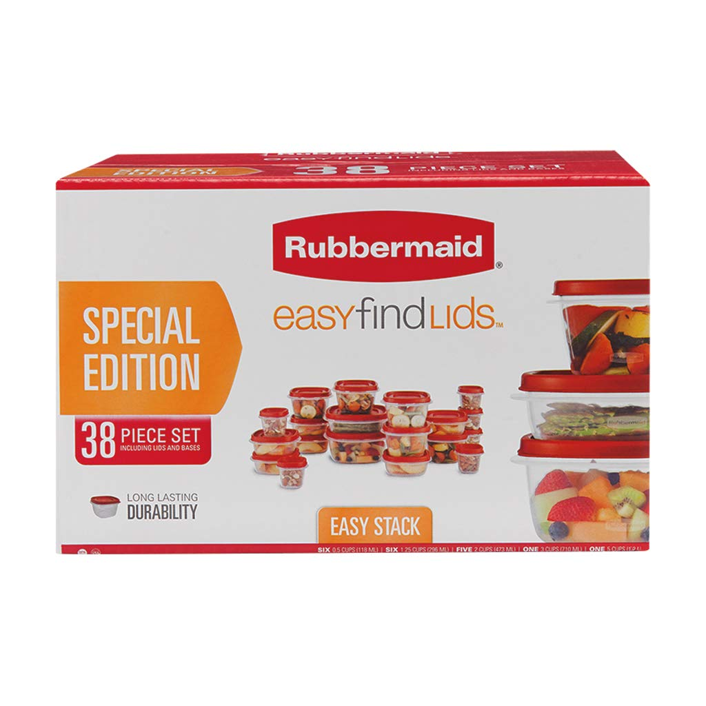 Rubbermaid 38 Piece Easy Find Lid Red Food Storage Set - Kitchen Storage