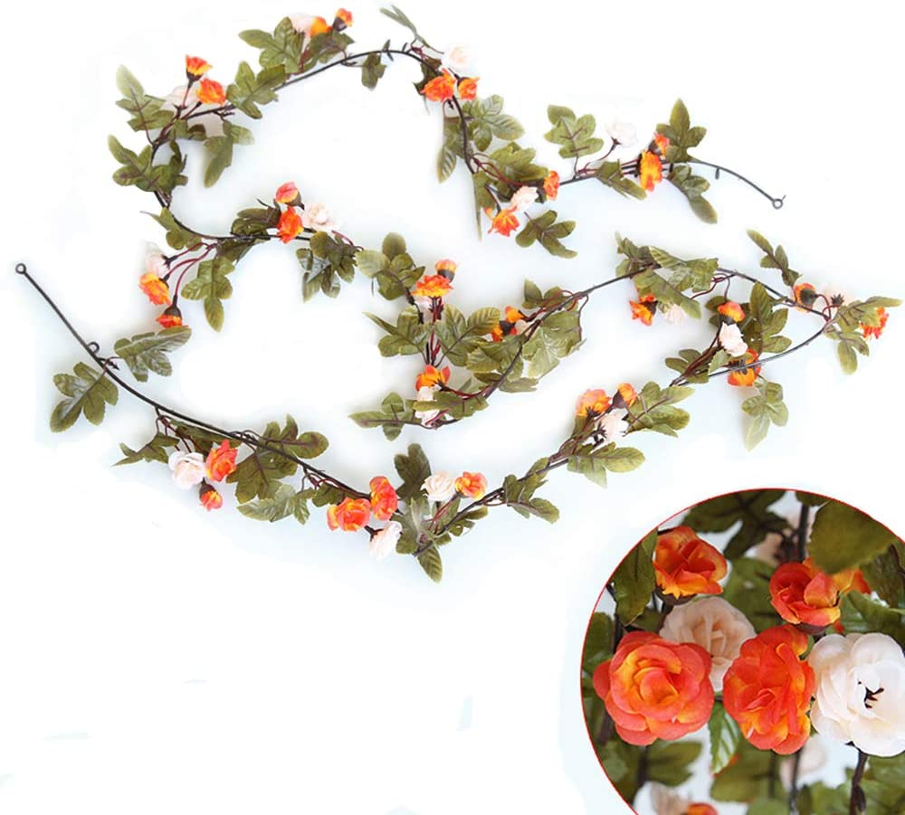 LI HUA CAT Artificial Flowers Rose Garland Leaves Vine with Green Leaves Pack of 3 Flower Garland for Home Wedding Decor Two Colors Rose (Orange)