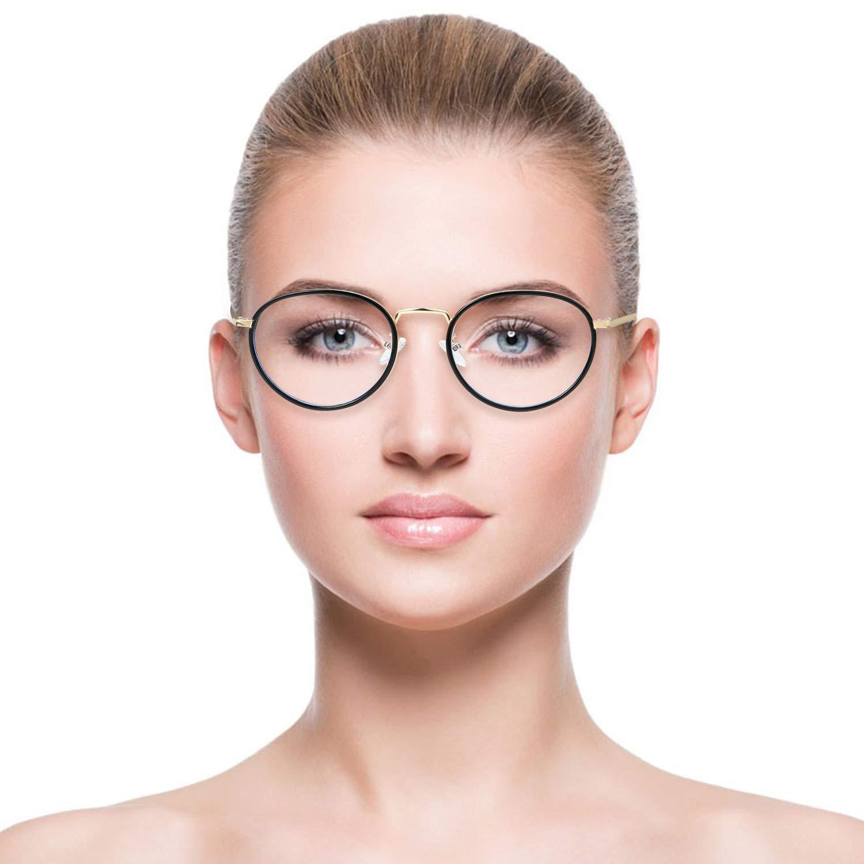 Aroncent Occhiali da Donna Anti-affaticamento Anti-luce blu Protezione Occhi lenti trasparenti ultraleggero telaio metallo,Colore a scelta