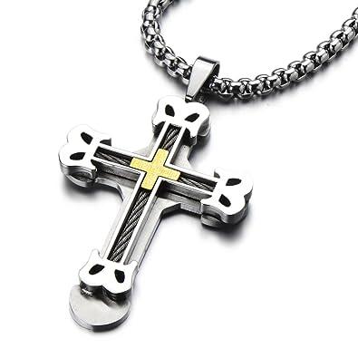 Goldkette mit kreuz herren  Große Kreuz-Anhänger Edelstahl Halskette für Herren Farbe Gold ...