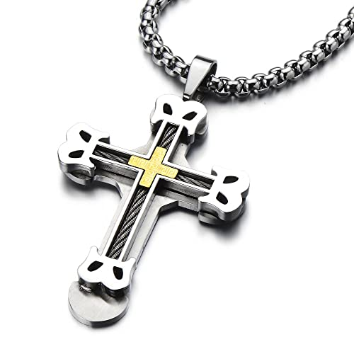 Masculine Mens Large Cross Pendant Necklace Stainless Steel with Steel Cable Inlay and 30 inches Wheat Chain O5kqg0ADI