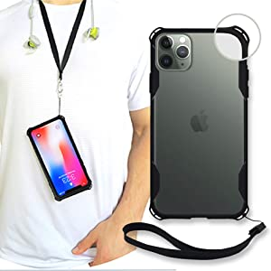 New iPhone 11 Clear Slim Case with Wrist Strap & Lanyard   Best Rugged TPU Bumper Case   Strong Loop Hole Attachments for Leash, Tether Holder etc (Black, iPhone 11)