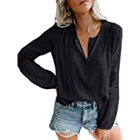 Jeanewpole1 Womens Henley Shirt Lace Crochet Button Long Sleeve V Neck Casual Chiffon Tunic Top