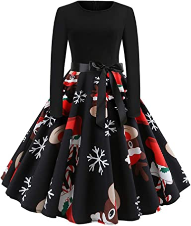 Womens Christmas Dresses Long Sleeve Fit And Flare A Line Christmas Elements Print Funny With Belt Outfits At Amazon Women S Clothing Store