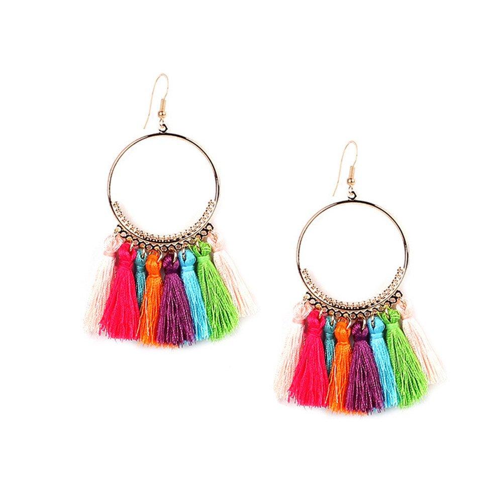 Bohemian Women Fringe Thread Ball Beaded Tassel Hoop Earrings Gift For Her (F)