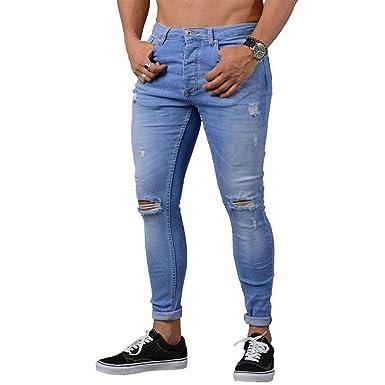 Cebbay Pantalones Rotos Largos Vaqueros Hombres Vaqueros ...