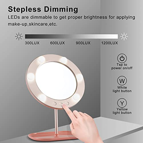 LangTouam LTM Vanity Mirror with Lights Bluetooth Lighted Makeup Mirror Touch Screen Wireless Audio Speaker Dimmable Light Detachable1X 10X Magnification Rechargable Power Mirror