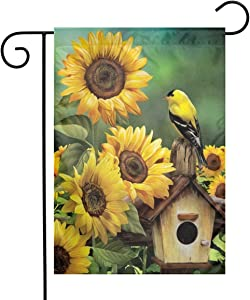 MSGUIDE Goldfinch and Sunflowers Summer Garden Flag Flower House Yard Decoration 12x18 Inch for Outdoor Balcony