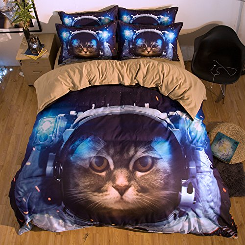 Amazing Cat Astronaut Cotton Microfiber 3pc 80''x90'' Bedding Quilt Duvet Cover Sets 2 Pillow Cases Full Size by DIY Duvetcover