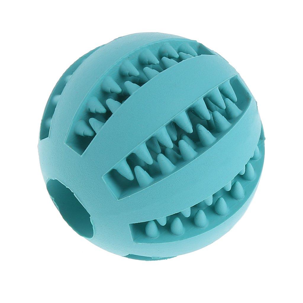 SELFON Dog Cat Chew Treat BallFood Dispenser Bite-ResistantTeethCleaning Rubber Toy ForPetIQ TrainingPlaying(Blue)