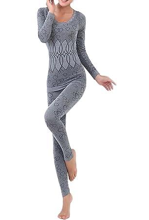 TOOGOO(R)Mujer Cuello redondo Conjunto termico Invierno Chaqueta&pantalones larga ropa interior Conjunto de