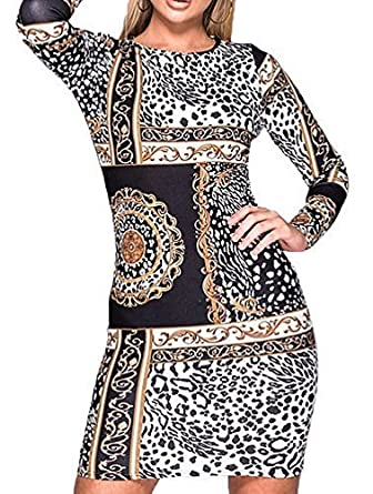 4a64f44a74f Re Tech UK Womens Leopard Scarf Print Long Sleeve Bodycon Dress Chain Sexy  Stretch Mini Midi Fashion Sizes 6-12 (8