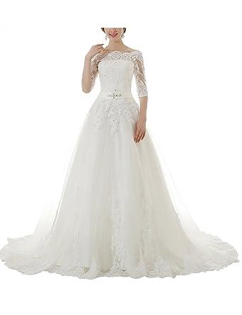 Lactraum HS1033 Brautkleid Hochzeitskleid Spitze 1/2 Arm mit ...
