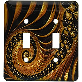 3dRose lsp/_204323/_2Print Of Beautiful Gold And Black Swirly Fractal Double Toggle Switch Multicolor
